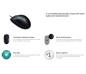 Logitech 910-001439: Logitech B100 Optical Usb Mouse Logmosb100