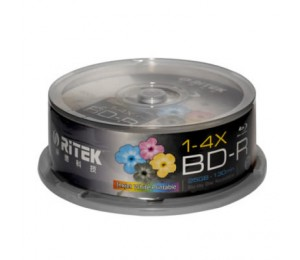 RITEK Blu-Ray BD-R 2X 25GB 130Min White Top Printable 25pcs BMDRITBLUREC25P