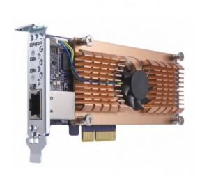 Qnap Qm2-2p10g1t Card Dual M.2 Pcie Ssd 10gbase-t(1) Expansion Card Low Profile Bracket Qm2-2p10g1t