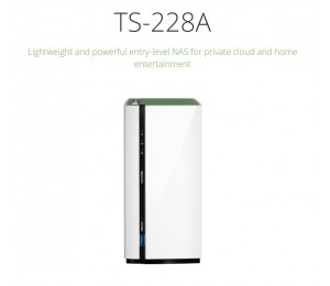 QNAP TS-228A, 2 BAY NAS (NO DISK),1GB, ARM-1.4GHz, USB, GbE(1), 2YR ~BAQN-TS228 TS-228A