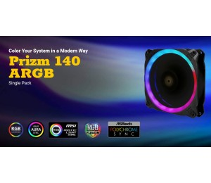 Antec Prizm 140 Argb Dual-Ring Hydraulic Bearing 18 Independent Led Beads Pwm Fan. 2 Years Warranty