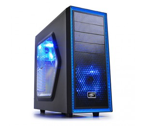 Deepcool Tesseract Sw Mid Tower Case Side Window Includes 2 Blue 120mm Led Fans Black Tesseract