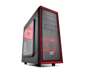 Deepcool Tesseract Sw Mid Tower Case Side Window Includes 2 Red 120mm Led Fans Red Tesseract Sw