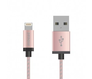 Mbeat Lightning Cable With Rose Gold Nylon Braided In 2M Mb-Icab-2R