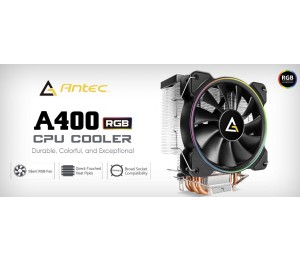Antec A400 Rgb Cpu Air Cooler Direct Heat-Pipies Silent Rgb Pwm Fan Broad Socket Support Thermal