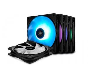 Deepcool Rf 120M 120Mm High Brightness Rgb Fans (5 Fans & 2 Fan Hubs Sync Cable) Rf 120M