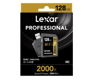 Lexar Professional 2000X 128Gb Sdxc Uhs-Ii Card - Upto 300Mb/ S U3 C10 V90 Lsd128Crbap2000R