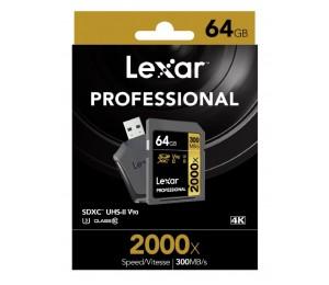 Lexar Professional 2000X 64Gb Sdxc Uhs-Ii Card - Upto 300Mb/ S U3 C10 V90 Lsd64Gcrbap2000R