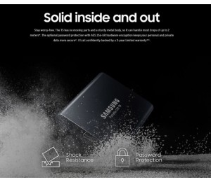 Samsung Portable Ssd T5 2Tb Usb3.1 (Gen2) Type-C Up To 10Gbps Shock Resistant 3 Years Warranty Mu-Pa2T0B/Ww