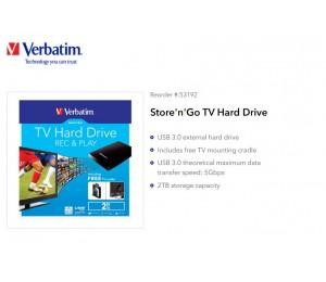 "Verbatim 2TB 2.5"" USB 3.0 Store""n""Go External Hard Drive 53192 53192"