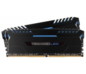 Corsair 16GB (2x8GB) DDR4 3000MHz Vengeance Black Heat spreader with Blue LED CMU16GX4M2C3000C15B