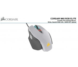Corsair M65 Rgb Elite Tunable Fps Gaming Mouse White With Black 18000 Dpi Optical Icue Software.