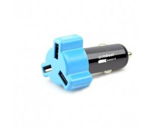 Mbeat 4.8A 24W Triple-Port Rapid Blue Car Charger Chgr-348-Blu