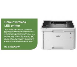 Brother Hl-l3230cdw Wireless Colour Laser Printer With 2-sided Printing. 250 Sheets Capacity