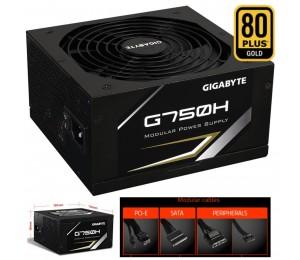 Gigabyte G750H 750W ATX PSU Power Supply 80+ Gold >90% 140mm Fan Modular Black Flat Cables Single