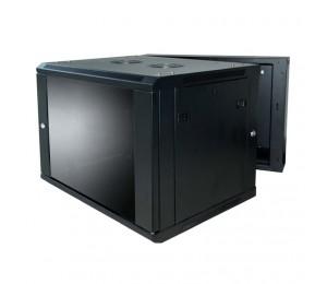 Linkbasic 12U 600X550X635Mm Smokey-Gray Glass Door With Hinged Rear Access Black Wcc12-655-Ca-C