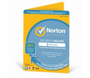 Norton Security Deluxe 2018 3 Device 12 Months Pc Mac Android Ios Oem - Subscription Only Edition