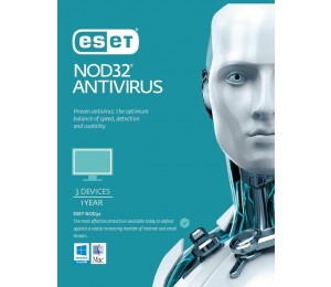 Eset Nod32 Antivirus 3 Devices 1 Year Retail Download Card Av-Es-Nodr3D1Y
