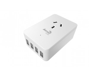 Aerocool Asa St1A4U2 Wall-Mounted W/ 1 Ac Outlet And 4 Usb Charging Ports 5V/ 2.4A Acas-St1A4U2-21