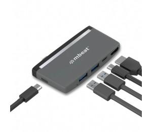 mbeat Essential Pro  5-IN-1 USB- C Hub ( 4k HDMI Video, USB-C PD Pass Through Charging, USB 3.0 x 2, USB-C x 1)