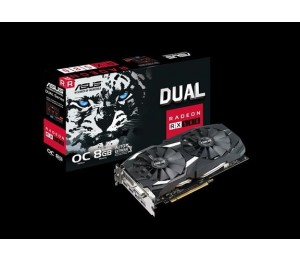Asus Amd Radeon Dual-rx580-o8g Ddr5 Pcie Video Card 8k 7680x4320 1xdvi 2xhdmi 2xdp 1380/ 1360 Mhz