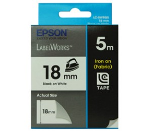 Epson Tape Iron On 18mm Black/ White 5 Mete For Lw-400 C53s626103
