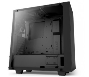 NZXT Case: SOURCE 340 ELITE MATTE, Tempered glass compact ATX Mid-Tower, 2x USB 3.0, 2x USB 2.0