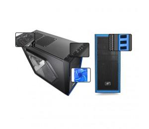 DeepCool Case : Tesseract SW Mid Tower Side Window Includes 2 Blue 120mm LED Fans Blue CASE-TSRSW-BK