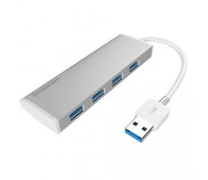 Simplecom Ultra Slim Aluminium Usb 3.0 External 4 Port Hub For Pc Mac Laptop Silver Ch309 Silver