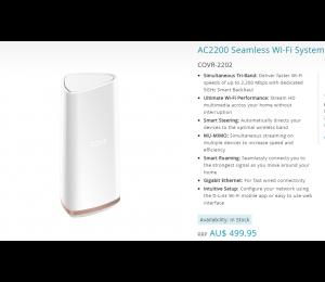 D-link Ac2200 Seamless Wi-fi System Covr-2202/nau