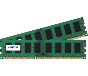 Crucial DDR3 PC12800-8GB Kit (2x4GB) 1600Mhz 512x8 CL11 Single Ranked Desktop Memory CT2K51264BD160BJ