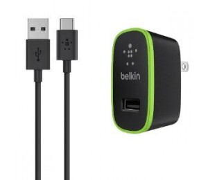 BELKIN USB-C TO USB-A CABLE WITH UNIVERSAL HOME CHARGER (12W) F7U001AU06-BLK