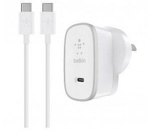 Belkin 15W Wall Charger Usb-C (1)+ Usb-C Cable(1.5M) Silver/ White 2Yr Wty F7U008Bg05-Wht