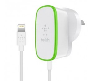 BELKIN BOOST UP 2.4A HOME CHARGER HARDWIRED LIGHTNING CABLE 1.8M 2YR WTY F8J204BG06-WHT