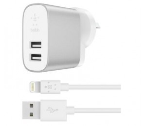 Belkin 2 Port 2.4A Home Charger + 1.2M Lightning Cable 2Yr Wty F8J230Au04-Slv