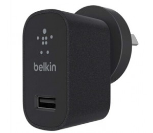 BELKIN MIXITUP METALLIC BLACK WALL CHARGER, USB (1), CABLES NOT INCLUDED F8M731BGBLK