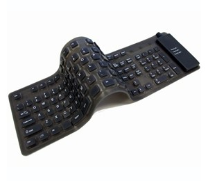 USB Foldable Waterproof Silicone Soft Keyboard w/ 109 Keys Black