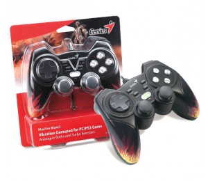 Genius MaxFire Blaze3 Vibration Gamepad for PC/ PS2/ PS3 Games, Vibration Feedback, Turbo, USB, 84302