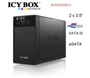 Icybox Ib-rd3620su3 Raid System For 2x 3.5 Inc Sata Hdd To Usb 3.0 + Esata Host, Easy Swap, Jbod