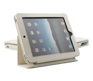 Ipad Mini Folding Protective Pu Leather Case White