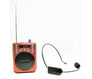 Portable Bluetooth Voice Amplifier Includes Wireless Fm Headset & Wired Headset (Red) Eledigf37Bwr