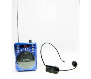 Portable Non-Bluetooth Voice Amplifier Includes Wireless Fm Headset & Wired Headset (Blue) Eledigf37Bwu-1