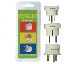 Korjo Adaptor Set, Set of 3 Travel Adapters