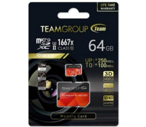 Team Group Xtreem 64gb Micro Sdxc Uhs-ii U3 Read Up To 250mb/ S Write Up To 100mb/ S Tcusdx64guhsii44
