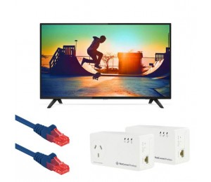 "Philips 6133 139 Cm (55"" ) 4K Ultra Slim Smart Led Tv With Free Netcomm Np511 & Patch Leads Ph-55Put6133-Kit"