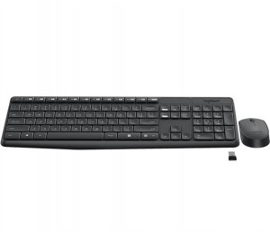 Logitech Wireless Keyboard & Mouse Combo, MK235, Black, USB Receiver, Full Size. 920-007937