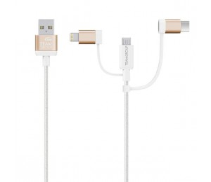 Team Micro USB & Lightning & USB-C 3 in 1 Charging Cable GOLD TWC0CD01/GOLD