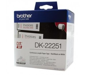 Brother White Continuous Paper Roll 62mm X 15.24m (with Black/ Red Print) Lbf797024
