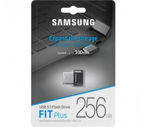 Samsung 256GB Fit Plus USB3.1 Flash Drive, up to 300 MB/s, Compact Fit, Plug in and Stay