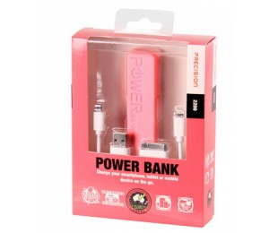 Laser 2200mah Emergency Power Bank With 3 In 1 Charging Cable Precision Pink Pb-2200p-pnk